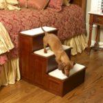 Three Step Wood Dog Steps - Cherry