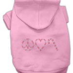 Peace, Love and Candy Canes Dog Hoodie (Pink)