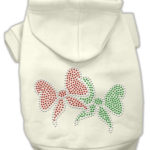 Christmas Bows Rhinestone Dog Hoodie (Cream)