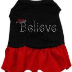 Believe Rhinestone Dog Dress (Red)