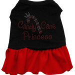 Candy Cane Princess Rhinestone Dog Dress (Red)