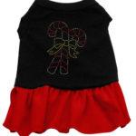 Candy Cane Rhinestone Dog Dress (Red)