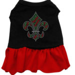Christmas Fleur De Lis Rhinestone Dog Dress (Red)