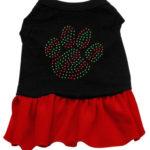 Christmas Paw Rhinestone Dog Dress (Red)