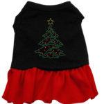Christmas Tree Rhinestone Dog Dress (Red)