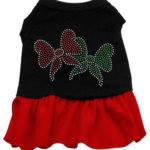 Christmas Bows Rhinestone Dog Dress (Red)