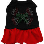 Candy Cane Crossbones Rhinestone Dog Dress (Red)