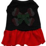 Candy Cane Crossbones Rhinestone Dog Dress (Red)