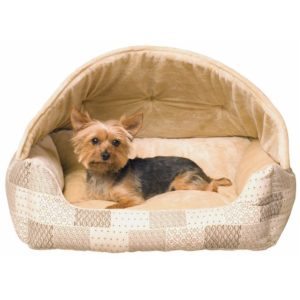 Hooded Lounger Pet Bed - Tan
