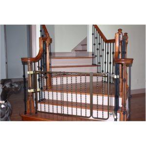 Wrought Iron Decor Dog Gate - Bronze