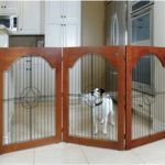 Free Standing Wood and Wire Pet Gate - Cherry