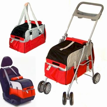 3 In 1 Pet Stroller - Red
