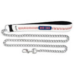 Boston Red Sox Baseball Leather Chain Dog Leash Large