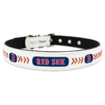 Boston Red Sox Classic Leather Large Baseball Dog Collar