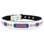 Chicago Cubs Classic Leather Large Baseball Dog Collar