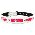Cincinnati Reds Classic Leather Large Baseball Dog Collar