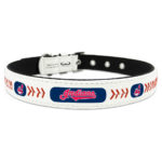 Cleveland Indians Classic Leather Large Baseball Dog Collar