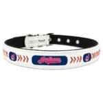 Cleveland Indians Classic Leather Large Baseball Dog Collar