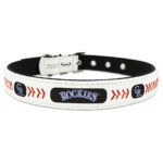Colorado Rockies Classic Leather Large Baseball Dog Collar
