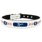 Detroit Tigers Classic Leather Large Baseball Dog Collar