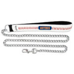 Houston Astros Baseball Leather Chain Dog Leash Large