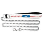 Los Angeles Dodgers Baseball Leather Chain Dog Leash Large