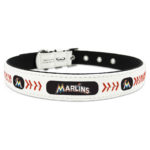 Miami Marlins Classic Leather Large Baseball Dog Collar