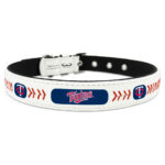 Minnesota Twins Classic Leather Large Baseball Dog Collar