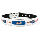 New York Mets Classic Leather Large Baseball Dog Collar