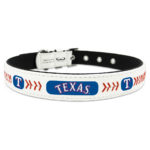 Texas Rangers Classic Leather Large Baseball Dog Collar