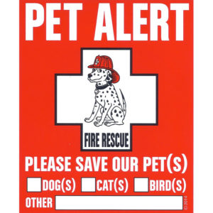 Pet Safety Alert Decal