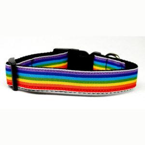 Rainbow Stripe Nylon Dog Collar