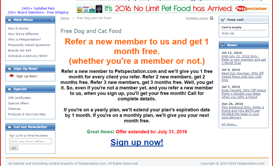 Petspectation Free Pet Food Referral Bonus